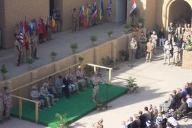 General Sanchez addressing the Change of Authority ceremony in Camp Babylon, Iraq on September 3, 2003.